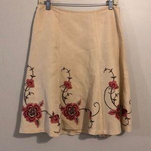 Ann Taylor LOFT embroidered linen skirt